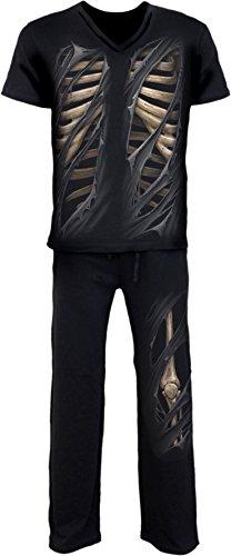Spiral Bone Rips-4--Maglietta da uomo gotico Set Pigiama Black XL