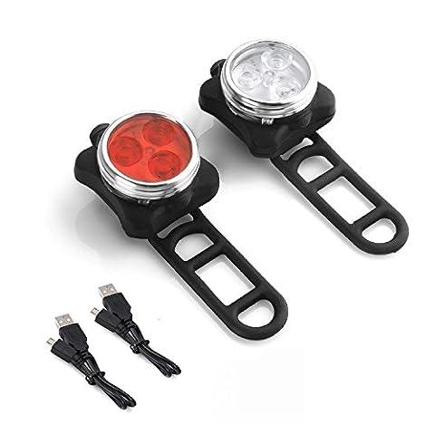 Wiederaufladbare LED Fahrradlampe, LED Frontlicht und Rücklicht Für Fahrrad, Kinderwagenbeleuchtung, USB LED Fahrradlicht Set, Fahrradbeleuchtung,350lm Wasserdichte 4 Licht-Modi 2 USB-Kabel zum Aufladen by Jr.Hagrid
