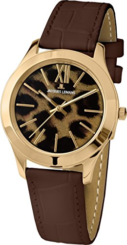 Jacques Lemans - 1-1840Y - Montre Femme - Quartz - Analogique - Bracelet cuir Marron