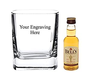 Personalised Engraved 10 oz Crystal Square glass, 5cl Bells Whisky in Silk Lined Gift box from Bells
