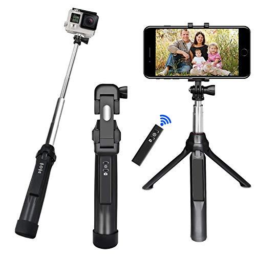 Bastone selfie, peyou[3 in 1] bastone selfie stick bluetooth estendibile monopiede tenuto a mano supporto treppiedi otturatore a telecomando rimovibile fino ai 35.4