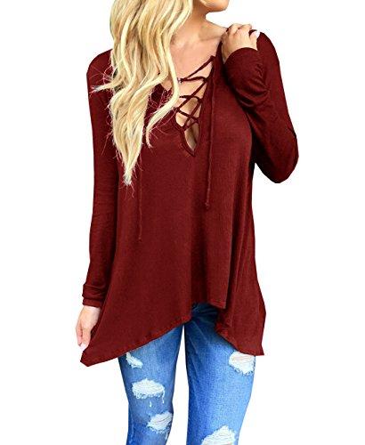 Donna Camicie Bluse T-Shirt Manica lunga Top Pullover Felpe con cappucci Magliette Maglie Camicetta V-Neck Incrociato Benda Asimmetrico Rosso
