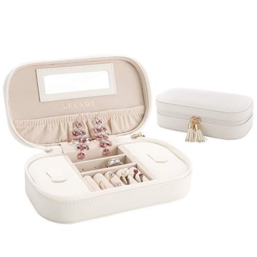 Lelady piccolo porta gioielli per viaggio, scatola per gioielli con specchio, adatto per anelli, orecchini, collane e bracciali, bianco