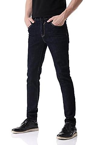 Pau1Hami1ton D-02 Super Stretch Skinny Fit Denim Jeans Homme (32,Dark Blue)