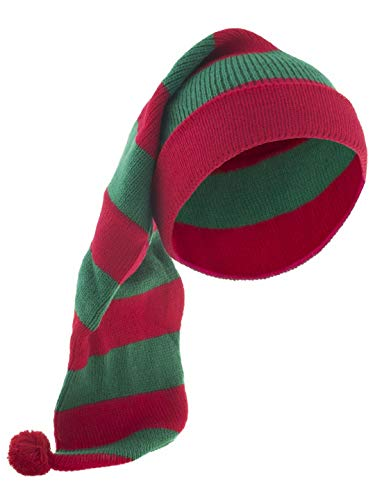 costumebakery - Kostüm Accessoires Zubehör Damen Herren rot grüne Elfen Schlafmütze Mütze, Slepping Hat Cap, perfekt für Weihnachten Karneval und Fasching, - Rot Und Grün Elfe Kostüm