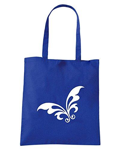 T-Shirtshock - Borsa Shopping FUN0904 butterfly sticker abstract 05182 Blu Royal