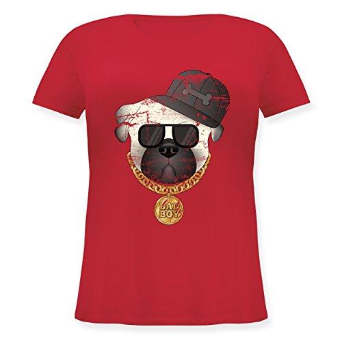 Hunde - Bad Boy Mops Vintage - Lockeres Damen-Shirt in großen Größen mit Rundhalsausschnitt Rot