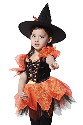 GIFT TOWER Hexenkostüm Kinder Hexe Karneval Fasching Kostüm Hexenkleid (Orange Kind Kostüm)