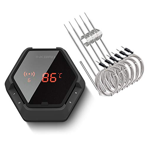 Inkbird IBT-6X Edelstahldraht Barbecue Ofenthermometer mit Bluetooth Grill Smoker BBQ Kochen Thermometer + Fleisch Temperaturfühlern für iPhone Android Smartphone (IBT-6X+6 Barbequefühler, Schwarz)