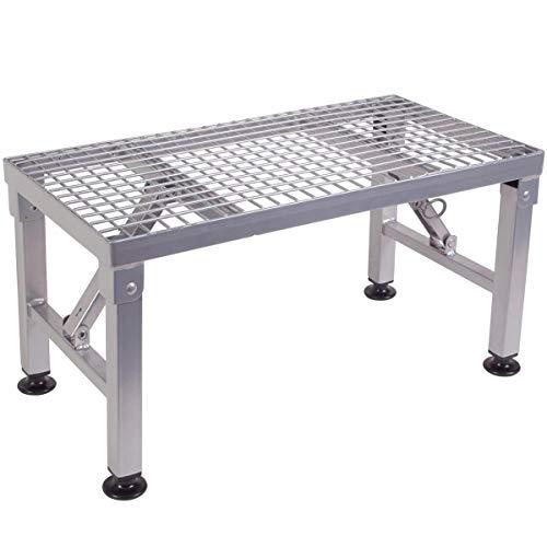 Klappbare Stufe aus beschichtetem Stahl bis zu 150kg belastbar mit Maschen-Oberfläche • Trittleiter Klapptritt Wohnwagen Wohnmobil Treppe Trittstufe Klappleiter