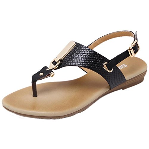 Hot Sale!Sandalen Damen, Sonnena Frauen Metall Dekoration Schnalle Gürtel Flip Beach Wedge Sandalen ShoesShoes Zehensandalen Strandschuhe Mund Berufssandale Freizeitschuhe Abendschuhe (Sexy Schwarz, 38) (Leder-plattformen Chunky)