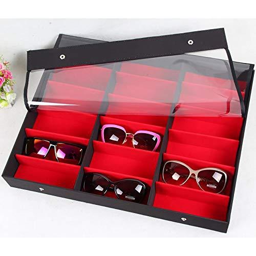 Keliour-sun Sonnenbrillen Aufbewahrungsorganisatoren 18 Gläser Display Box Transparente Abdeckung Gläser Aufbewahrungsbox Sonnenbrillen Display Rack Für Brillenuhren Schmuck (Farbe : Rot)