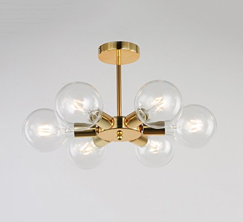 #Kronleuchter Moderne Pendelleuchte/Chandelier Beleuchtung E27 4-6 Lichter Gebürstet Messing Semi Flush Mount Deckenleuchte Mid Century Glas Pendelleuchte #Kronleuchter (Farbe : B) -