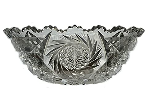 Clear Antique 10.2'' Pinwheel BOWL Gift Victorian Imposing Glass Cut Glass Dinner Cereal English 19th Century