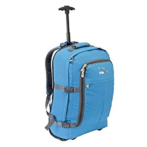 Cabin Max Lyon Flight Approved Bag Wheeled Hand Luggage - Carry on Trolley Backpack 44L 55x40x20cm (Blue)