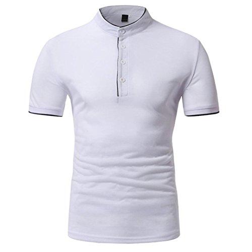 Jaminy Herren Kurzarm T-Shirt Bluse, Männer Sommer Top Casual Solid Stand Button Funktion Sport Kleidung - Quickdry Polo-Shirt & Hemd Sport Top Größen M-XXL - Qualität (XXL, Weiß) (Crew-weiß-kleidung)