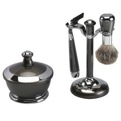 Gun Metal Finish Shaving Set With Mirror Shaving Bowl