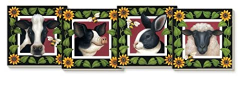 CounterArt Happy Days Farm Absorbent Coasters, Assorted, Set of 4 by Counter Art