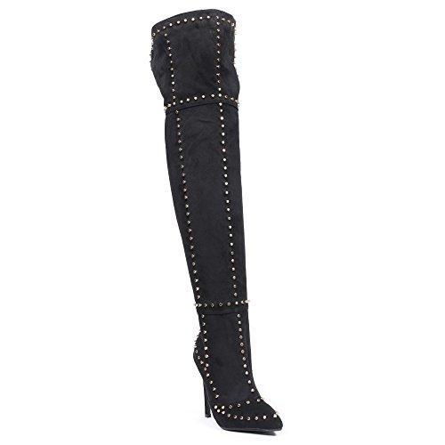 Ideal Shoes - Cuissardes à talon aiguille effet daim et incrustées de clous Jordane Noir