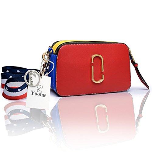 Stile di strada di Yoome Stringa di colore piccolo contrasto per le donne Sacchetto di Tote con la chiusura lampo Nuova borsa Chic Crossbody - Rosso Rosso