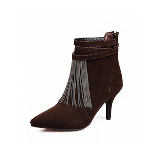 Qpyc High Heels Ladies Heavy Carpet Tassel Casual Pequeña Bota Desnuda Poco Después De Los Zapatos Con Zip Marrón