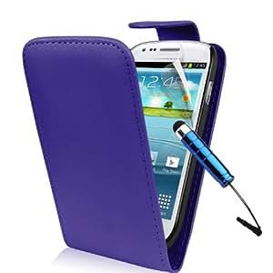 Blau Supergets Hülle für das Samsung Galaxy S3 Mini I8190 Klapptasche in Lederoptik mit Karteneinschub und Magnetverschluß Etui Flip Case, Schutzfolie, Mini Eingabestift