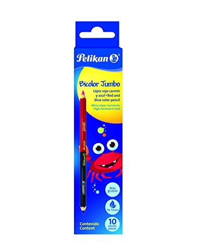 Pelikan 802170 - Lápices bicolor - 10 unidades (Azul - Rojo)