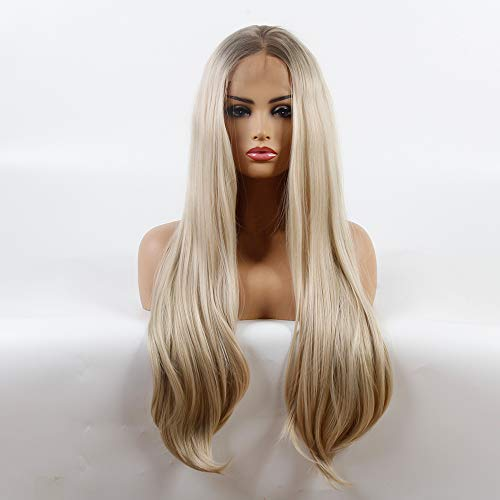 Life diaries - parrucca da donna con radici marroni in fibra sintetica resistente al calore, lunghezza 61 cm