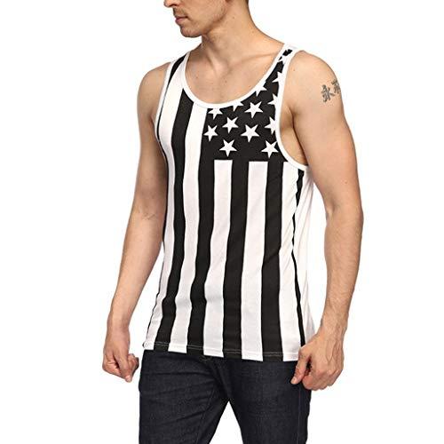 Muamaly Tank Top Herren Bodybuilding T Shirts Männer Slim Fit USA Flag Ärmellos Casual Fitness T-Shirts Hemden Sportbekleidung Weste Tops Sommer (Weiß, M)