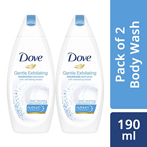 Dove Gentle Exfoliating Nourishing Body Wash, 190ml (Pack of 2)
