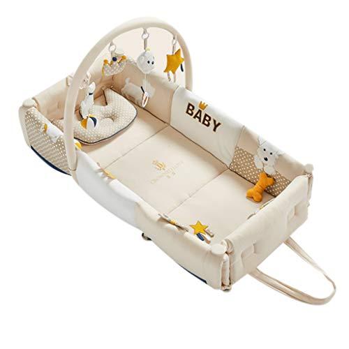Réducteur de Lit Babynest Gymnase portatif pour lit de bébé, Coussin de Jeu pour Tapis de Jeu pour bébé avec Centre d'activité, Convient dès la Naissance pour Les Nouveau-nés, 96 × 40 × 20 cm