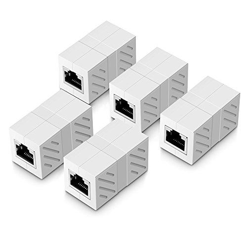 UGREEN Ethernet Kabel Verbinder RJ45 Patchkabel Kupplung Lan Kabel Verbinder Netzwerk Adapter geschirmte Modular Kupplung Netzwerkkoppler, Weiß, 5 Stücke