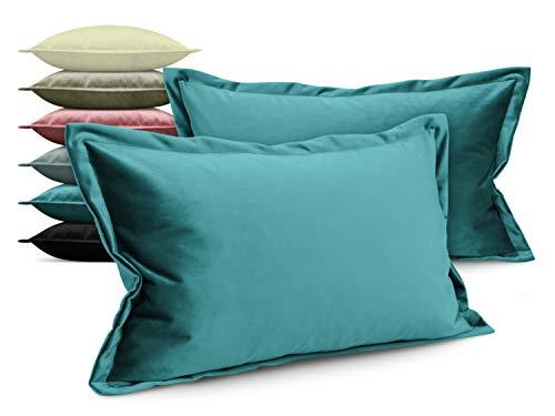 npluseins Doppelpack - Kira Samtkissenhülle - mit Stehsaum und Changiereffekt - Moderne Wohndekoration in dezentem Design - erhältlich in 6 Farben und 3 Größen, 30 x 50 x 2 cm, Petrol