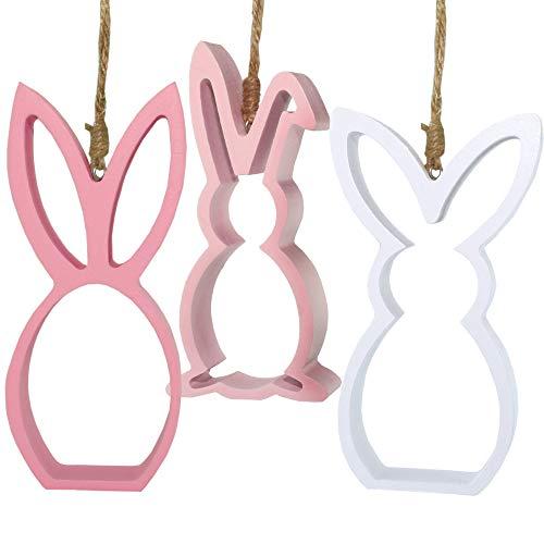 MC Trend - Set di 3 Coniglietti in Legno, da Appendere, Altezza 15 cm, Colore: Bianco/Rosa/Rosa