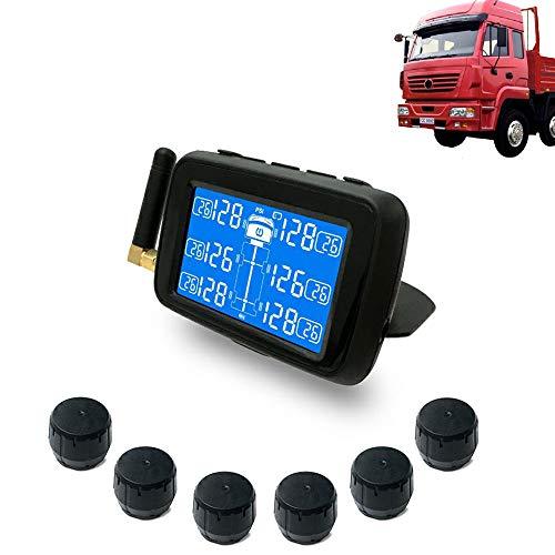 CHUDAN Auto LKW TPMS Reifendruckkontrollsystem, Wireless Echtzeitmonitor mit 6 Externe Sensoren Austauschbare Batterie LCD Display und -temperatur für Pickup-Anhänger -