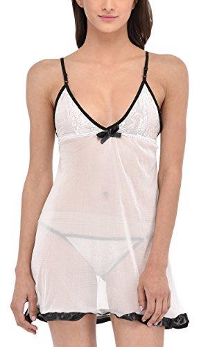 PHWOAR Women White Nightwear Babydoll Dress with Panty