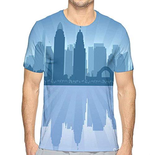 Stadtbild 1 T-shirt (3D gedruckte T-Shirts, Reflexion der Architektur-Stadtbild-Küste Unternehmens)