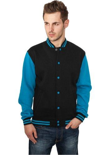 Urban Classics Urban Classics 2 Tone College Jacke + 2store Bandana - teddy - Homme Multicolore (Black/Turquoise)