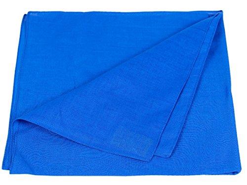 Bandana a tinta unita blu (BA-122) multifunzione classica di colori diversi foulard scialle collo rocker biker motociclista motorcycle pirata accessorio hip hop cappellino cowboy bracciale