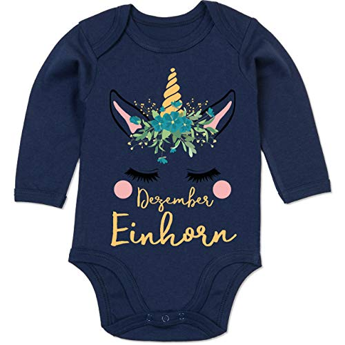 Shirtracer Geburtstag Baby - Geburtstagsmotiv Dezember Einhorn - 3-6 Monate - Navy Blau - BZ30 - Baby Body Langarm