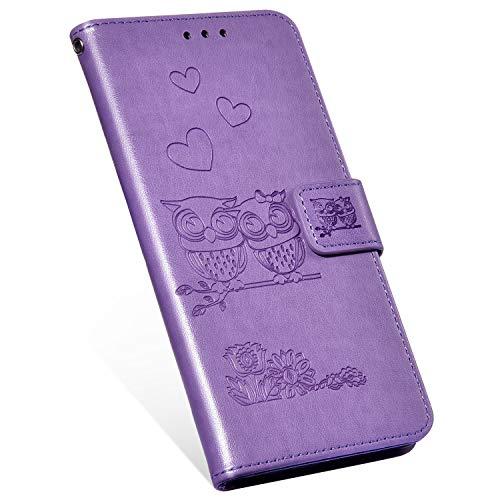 t Samsung Galaxy Note 4 Hülle Eule weiche PU Leder Magnetisch Flip Folio Shockproof Case Cover Brieftasche with Card Slot und Ständer Stoßfest Schutzhülle Handyhülle-Lila ()
