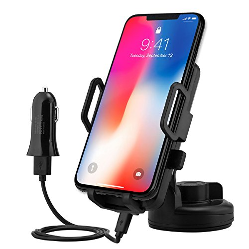 Car Mount Charger,MBLAI QI Wireless Charging & Air Vent Car Mount Phone Holder 2 in 1 Fast Car Charger for iPhone 8/ 8 plus/X/ Samsung Galaxy S8 /S8 Plus Note 8/ S6 /S7 Edge LG G2 & Qi Enabled Devices (Plug Mount Air)
