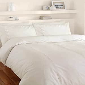 Catherine Lansfield Minimalist Duvet Cover Set, Cream, Single