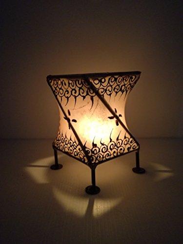 Porta Vela Tealight aromática Farolillo Hierro Piel hennè habitaciones árabe Marruecos marroquí étnico chic