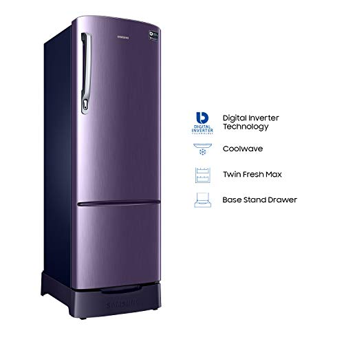 Samsung 255 L 4 Star Direct Cool Single Door Refrigerator(RR26N389YUT/HL, Pebble Blue, Base Stand with Drawer, Inverter Compressor)
