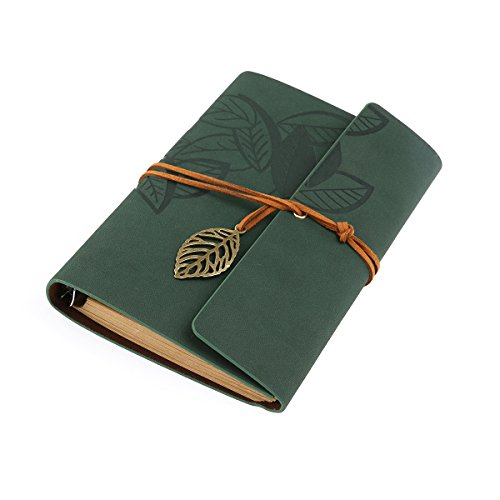 TINKSKY taccuino vintage Blank Notebook Notepad Travel Journal diario Jotter - taglia L (verde)