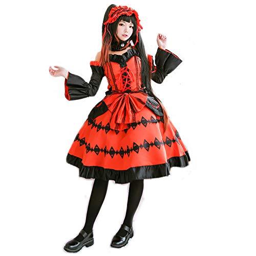 Girl Best Anime Kostüm - Pandacos Tokisaki Kurumi Kostüm Lolita Costume Dress Date Live Gothic Gothic rot und schwarz mit Zubehör