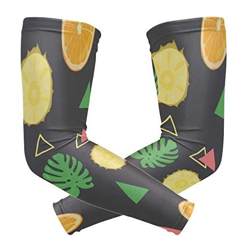 LUPINZ Kompressions-Manschetten, tropische Ananas, einfaches Malen, UV-Schutz, Kühlung, Sonnenblock, für Outdoor-Sportarten, 1 Paar