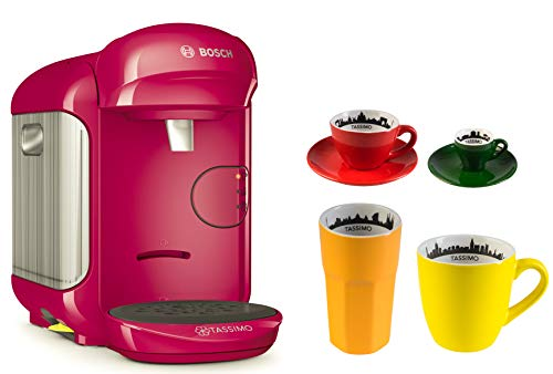 Bosch TASSIMO Vivy 2 + 4tlg. City Range Set Kaffee Becher Espresso Tasse Latte Macchiato Glas (Pink)