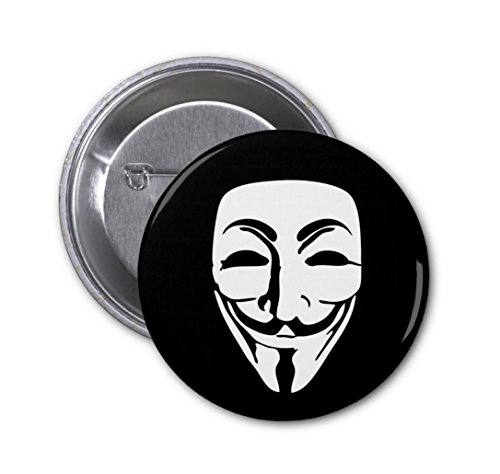(D Pin) 25mm Lapel Pin Button Badge: Anonymous Mask